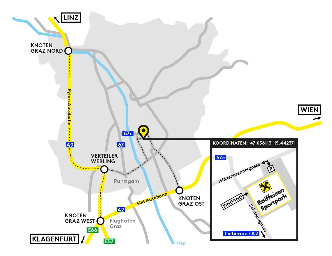 Raiffeisen Sportpark Anfahrt